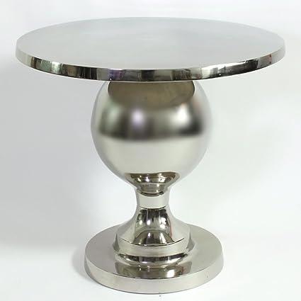 Couchtisch Ø 70 cm Metall silberfarben rund Tisch Kaffeetisch Sofatisch