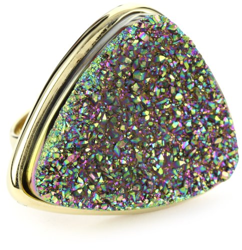 ANDARA Triangle Peacock Drusy Ring, Size 6