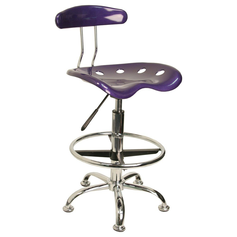 Vibrant Violet And Chrome Bar Stool Height Drafting Stool