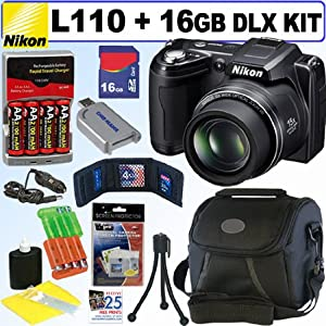 Nikon Coolpix L110 12.1MP Digital Camera (Black) + 16GB Deluxe Accessory Kit