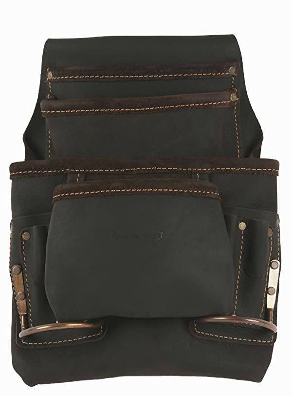 Style n Craft 90-923 10 Pocket Nail and Tool Pouch With 2 Hammer Holders in Oiled Top Grain Leather (Color: Dark Brown)