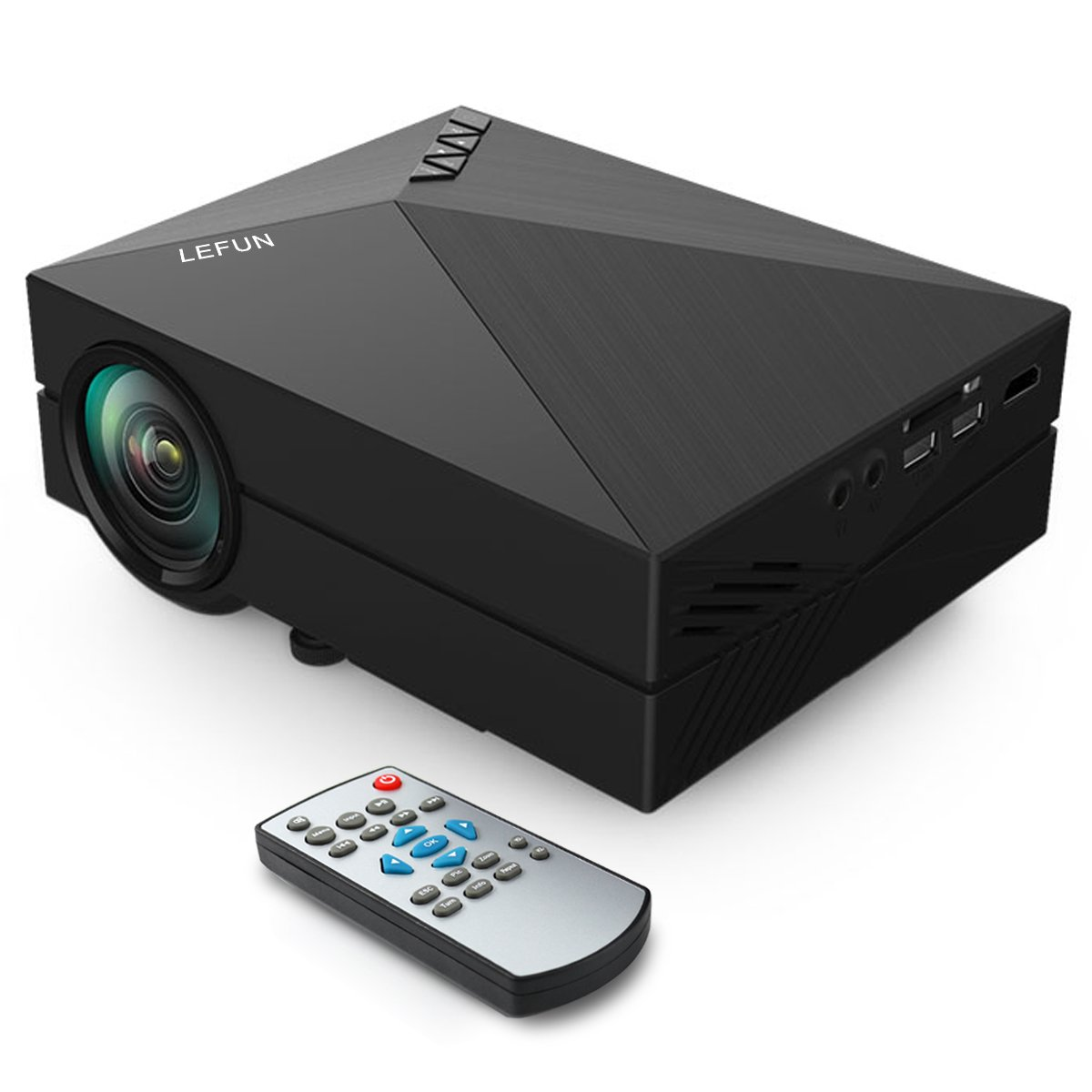 """Video Projector, LeFun™ 1080P Supported HD 130"""" Mini LCD LED Full Color 800x480p Entertainment Multimedia Home Theater Projector USB AV SD HDMI VGA Interface Video Games Movie Night (Black)"""