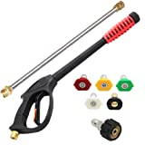 Twinkle Star 4000 PSI High Pressure Power Washer Gun, 21 Inch Replacement Wand, 5 Spray Nozzles Tips, 3/8