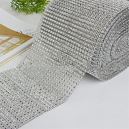 MEXUD-Diamond Mesh Wrap Roll Cake Rhinestone Wedding Ribbon for Decor Party Supplies (1 yard, Silver) (Cake Stand With Ribbon compare prices)