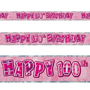 12ft Happy 100th Birthday Pink Sparkle Prismatic Party Foil Banner Decoration from Unique