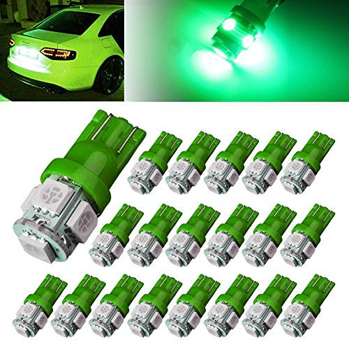 AUTOUS90 20 X T10 Wedge 5 SMD 5050 Green LED Light bulbs W5W 2825 158 192 168 194 (T10 Led Bulb Green compare prices)