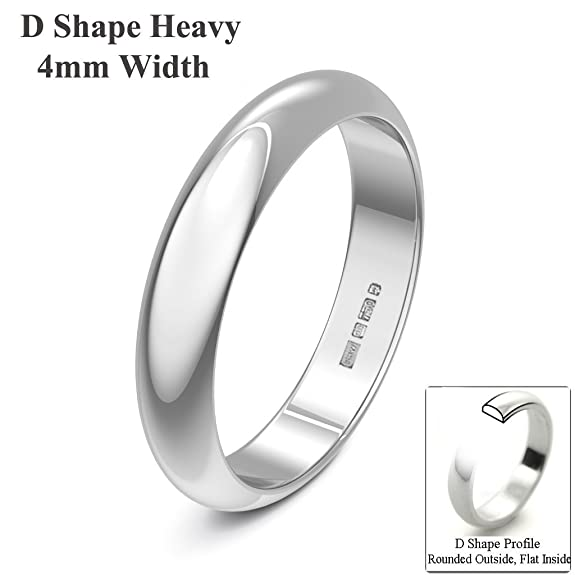 Xzara Jewellery - 18ct White 4mm Heavy D Shape Hallmarked Ladies Gents 4.9 Grams Wedding Ring Band