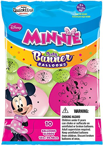 Party Banner Balloons 10 Count Minnie Mouse QuickLink Banner Balloons, 12-Inch - 1