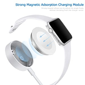 VEPOWER 4336794523 Magnetic Wireless Portable Charger Pad 3.Ft/1.0M Charging Cable Cord Compatible with Apple Watch Series 4 3 2 1 All 38mm 40mm 42mm 44mm, white011 (Color: white011, Tamaño: 3 Feet)