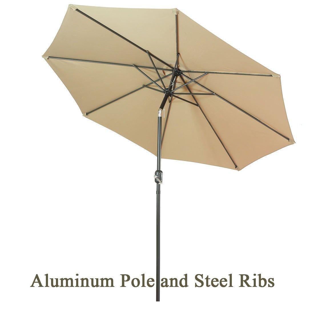 FARLAN Patio Umbrella 9 Ft Outdoor Table Aluminum offset market umbrellas with Push Button Tilt and Crank (9 Ft, Beige)