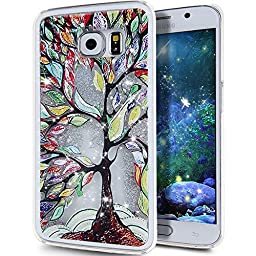Galaxy S6 Case, ikasus Galaxy S6 [Liquid Bling] Case, Creative Design [Flowing Liquid] Floating Luxury Bling Glitter Sparkle Stars Hard Case for Samsung Galaxy S6,Silver Tree Leaves