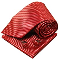 Red checkers mens neck ties gift ideas man handmade silk neck tie cufflinks handkerchiefs set H5145  Red