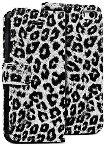 Mylife (Tm) White Leopard - Leopard Design - Textured Koskin Faux Leather (Card And Id Holder + Magnetic Detachable Closing) Slim Wallet For Iphone 5/5S (5G) 5Th Generation Itouch Smartphone By Apple (External Rugged Synthetic Leather With Magnetic Clip +