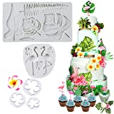 SAKOLLA Hawaiian Tropical Theme Cake Fondant Mold - Flamingo Palm Leaves Coconut Tree Leaves Flowers Candy Chocolate Mold for Summer Luau Cake Decorating (Color: Gray)