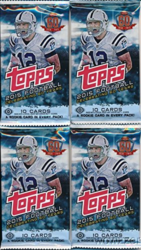 2015 Topps NFL Football Lot of FOUR(4) Factory Sealed HOBBY Packs with 40 Cards! Brand New! Loaded with Cool Inserts & New Rookie Cards! Look for Autograph and Relic Cards! Topps 60th Anniversary Set! (1000 Nfl Cards compare prices)