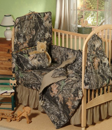 Mossy Oak New Break Up Camo - 5 Piece Crib Set Includes (Crib Fitted Sheet, Crib Bumper Pad, Crib Headboard Pad, Crib Comforter, And Crib Diaper Stacker)- Save Big By Bundling!