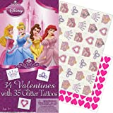 Disney Princess Valentine's Day Cards 34ct with 35 Glitter Tattoos