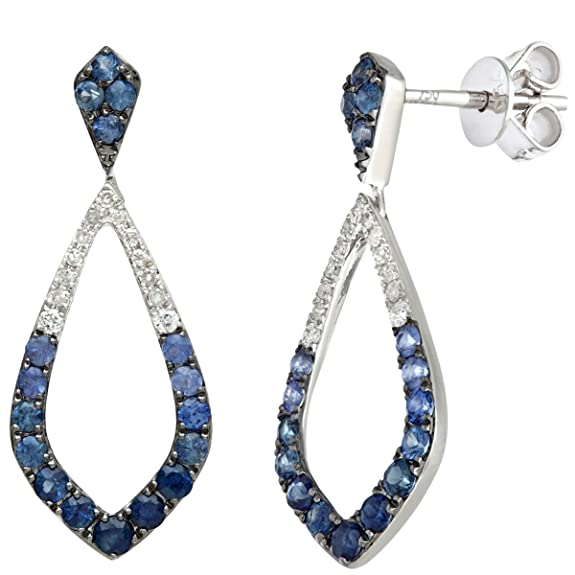 Naava 18 ct White Gold 0.90ct Blue Sapphire and Diamonds Marquise Drop Earrings