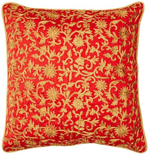 the-indian-promenade-16-x-16-inch-dupion-silk-zari-work-cushion-cover-red