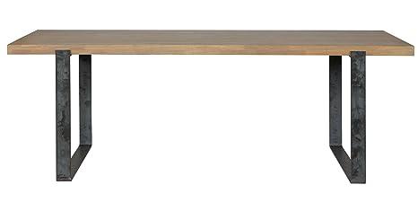 Table à manger rectangulaire en chêne massif - Dim : H 220 x L 91 x P 76 cm -PEGANE-