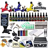 Professional Complete Tattoo Kit 3 Top Rotary Machine Gun 14 Color Ink 50 Needles Power Supply