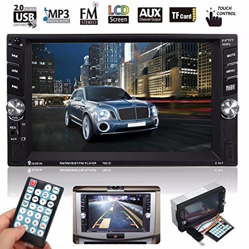 Car Radio DVD Player, M.Way 6.6 Inch Touch Screen 2DIN Car MP5 Player Bluetooth Stereo Radio DVD Player In Dash with Bluetooth USB SD card Wireless Remote control (Car Stereo Touch Screen compare prices)
