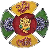 Wooden Handy Crafted Hand Painted Wall Hanging With Wall Decor Ganesha In Triangle And Circle Design Design By...