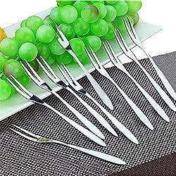 Fruit/Vegetable Forks - Hand Forged Stainless Steel Escargot Cocktail Forks, Bistro Style Forks Great Oyster Forks, Mussel Forks, Tasting Forks,Mussel Forks,Dessert Cake Forks, 10 Piece Set