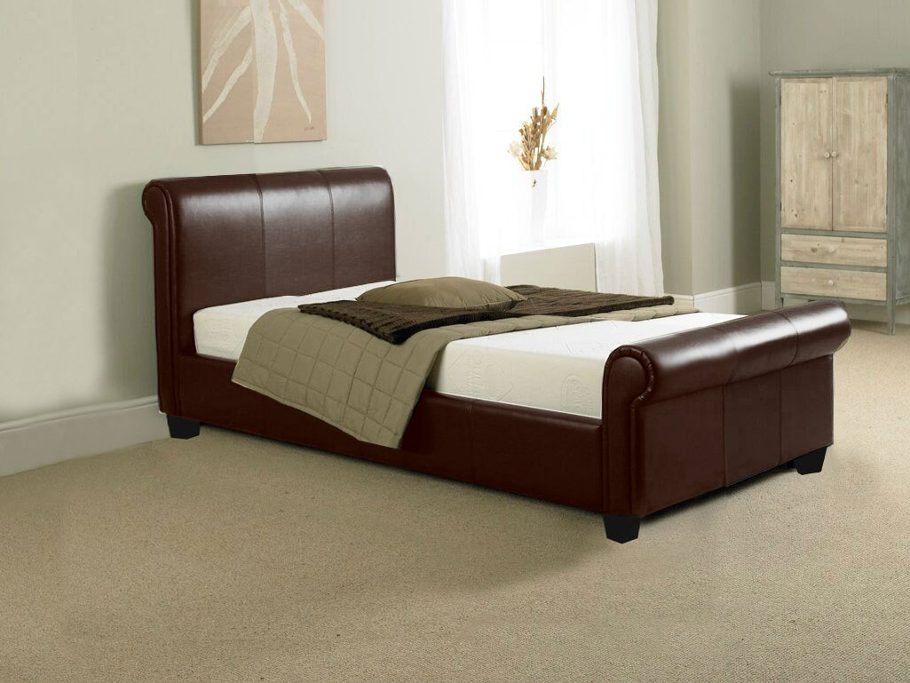 BRAND NEW 3ft BROWN FAUX LEATHER SLEIGH SINGLE SCROLL BED       review and more information