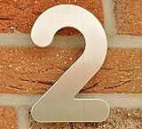 Hausnummer Nr. 2 - Edelstahl gebürstet - 15 cm - witterungsbeständig - einfache Montage