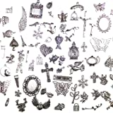 About 100 pcs Mixed antique Silver, Animal, Birds, Owls, Elephants, Cross, Angel wings, Starfish, Turtle, Charms and Pendants By DIYJEWELRYDEPOT