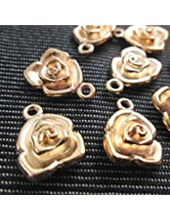 6 Pcs 3D Gold Tone Rose Charms, Flower Charms, Shiny Tibetan Gold Tone (NS332)
