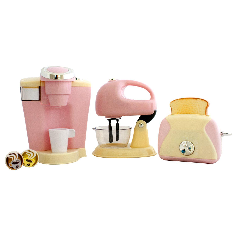 Uncategorized Pretend Play Kitchen Appliances playgo pretend play gourmet kitchen appliance set single serve coffee maker mixer toaster 3 piece pink