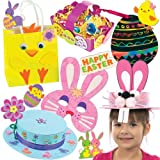 Easter Craft Super Value Pack. Save 29% when bought in pack! Includes 6 Easter colour-in masks, 12 Easter coloured baskets, 12 scratch art egg decorations, 3 coloured Easter bonnet kits, 100 Easter foam stickers and 4 chick & bunny bag kits.