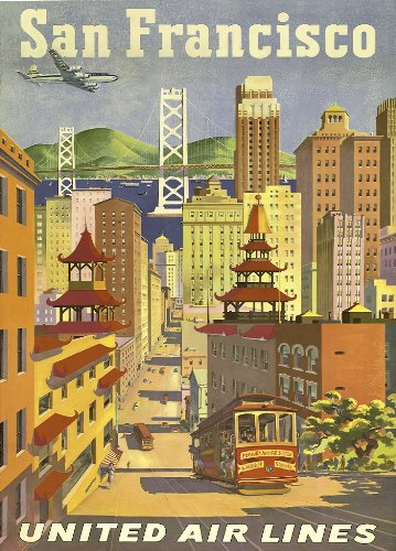 Vintage Travel SAN FRANCISCO, AMERICA Aviation Art 250gsm ART CARD Gloss A3 Reproduction Poster