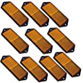 Amber Large Rectangular Side Reflector Pack of 10 Trailer Fence Gate Post TR067 by AB Tools