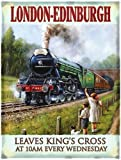 London - Edinburgh. The Flying Scotsman Train portrait. Coming out a tunnel by children in a field. Steam locomotion engine. Early 20th Century. King's Cross 10am. Large Metal/Steel Wall Sign