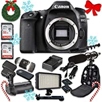 Canon EOS 80D Wi-Fi Full HD 1080P Digital SLR Camera Body Only + 2pc SanDisk 32GB Memory Cards + Battery Grip + Promotional Holiday Accessory Bundle