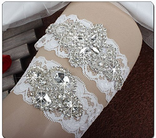 Sunshinesmile Wedding Bridal Lace Garter Set with Rhinestone