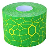 TheraBand Kinesiology Tape, Physio Tape for Pain Relief, Muscle Support, and Injury Recovery, Standard Roll with XactStretch Application Indicators, 2 Inch x 16.4 Foot Roll, Electric Green/Yellow