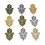 30pcs Filigree Hamasa Hand Charm,Jewish Hamesh Hamsa Hand Pendant Connector for DIY Necklace Bracelet Jewelry Making Findings(3 Assorted Colors) (Color: Hamasa hand)