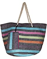 Frisky Summer Stripes Large Beach Bag Tote w/ Matching Zipper Pouch