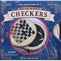 Solid Wood Checkers: Travel Size