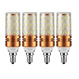 CTKcom 12W E14 LED Bulb Candelabra LED Light Bulb(4 Pack)- E14 Base T10 LED Corn Bulb,100 Watt Light Bulb Equivalent,Warm White 3000K LED Chandelier Bulb,AC85-265V 1200LM LED Lights Bright White(Gold) (Color: Warm White)