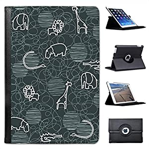 Giraffe Lion Elephant Hippo Drawing For Apple iPad Mini 1, 2, 3 & Retina Leather Folio Presenter Case Cover with Stand Capability