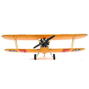 E-flite PT-17 1.1m RC Airplane PNP Plug-N-Play Biplane with AS3X and Safe Select (Transmitter, Receiver, Battery and Charger Not Included): EFL3375 (Color: Yellow)