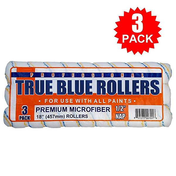 True Blue Professional Paint Roller Covers, Best for All Types of Paint (3, 18 x 1/2) (Tamaño: 18 x 1/2)