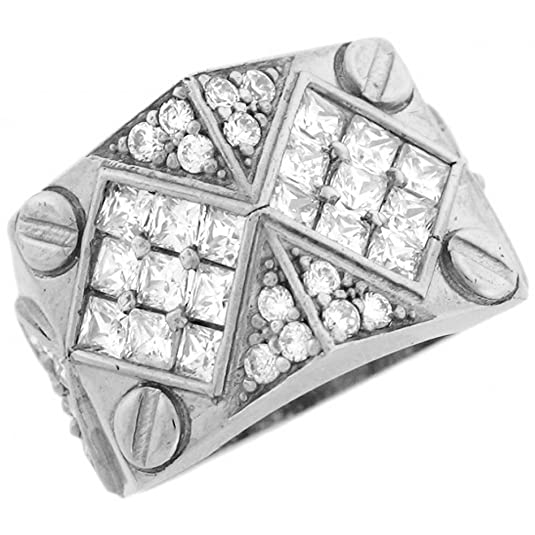 14ct White Gold White CZ Diamond Shaped Bolt Thick Mens Ring