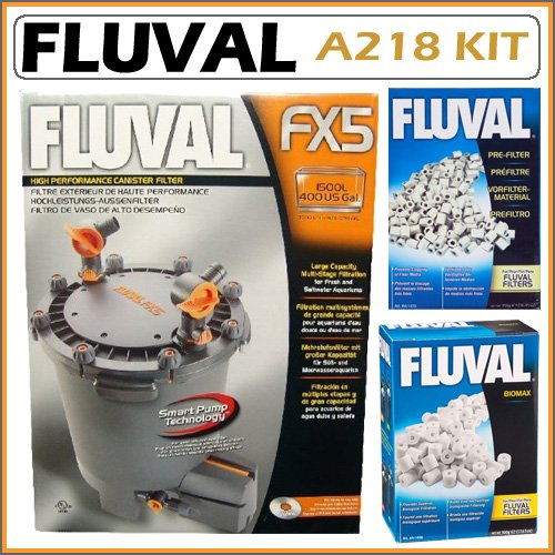 Fluval A218 FX5 400 Gallon Freshwater and Marine Aquarium Canister Filter with A1470 Pre-Filter Media and A1456 Biomax Media