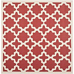 Safavieh Courtyard Collection CY6913-248 Red and Bone Indoor/ Outdoor Square Area Rug, 5 feet 3 inches Square (5\'3\